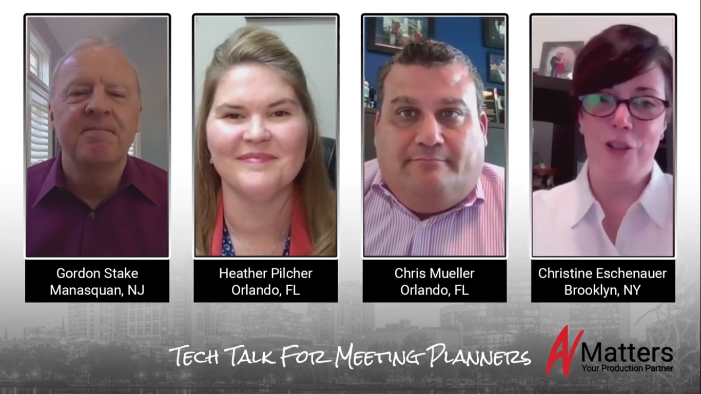 Tech Talks with Meeting Planners banner, a photo of the 4 participants